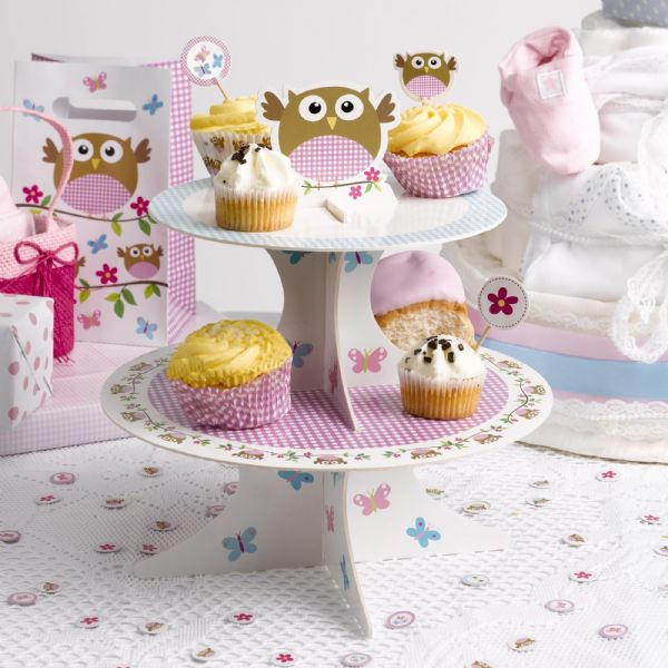 Little Owls Pink And Blue Cupcake Stand